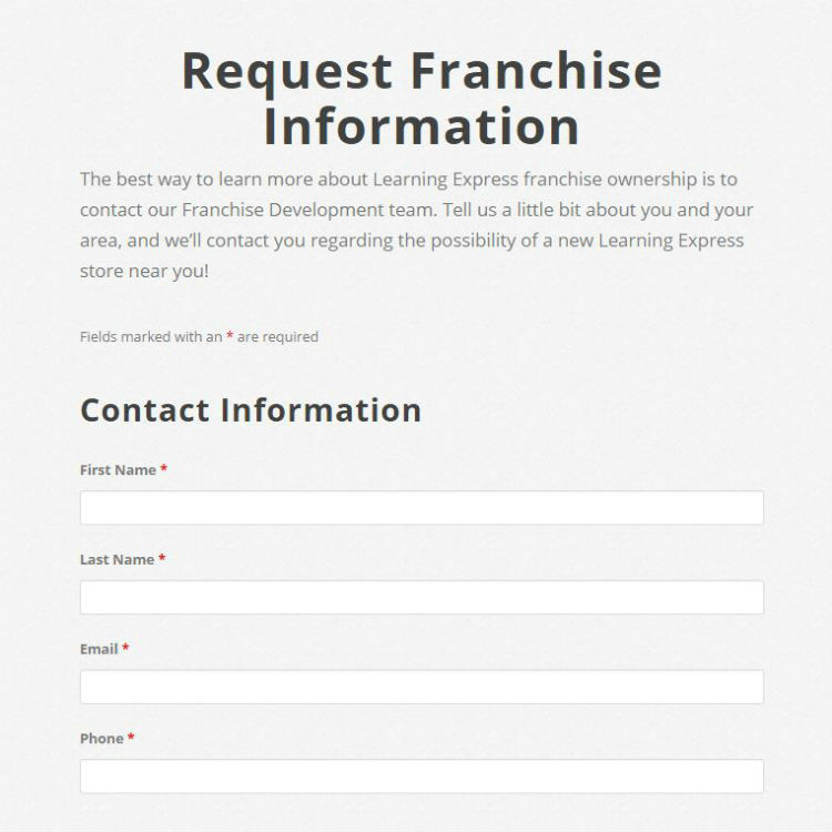 Request franchise information screenshot