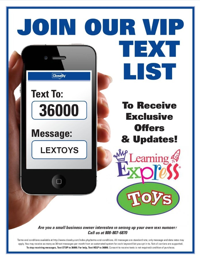 Join our VIP Text List to receive exclusive offers & Updates Text 36000 to LEXTOYS