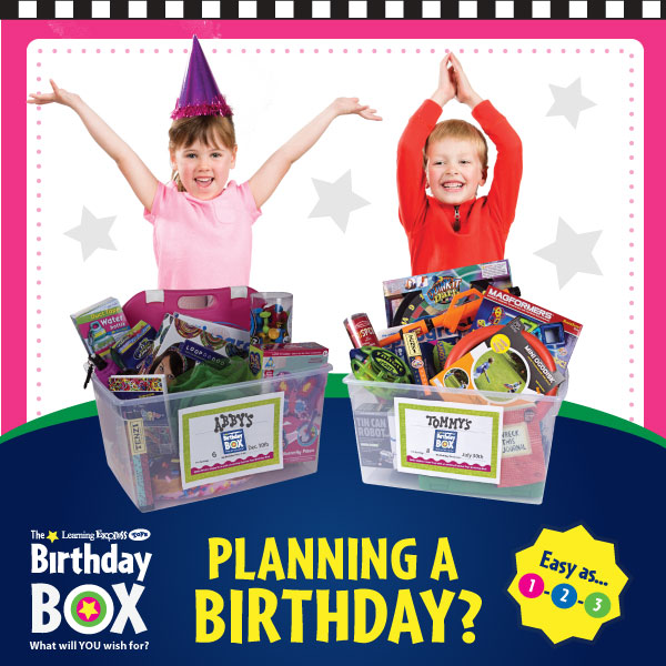 The Learning Expres Toys Birthda Box. What will YOU wish for? Planning a birthday? Easy as... 1-2-3